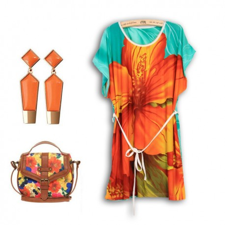 Eva Print Dress Orange