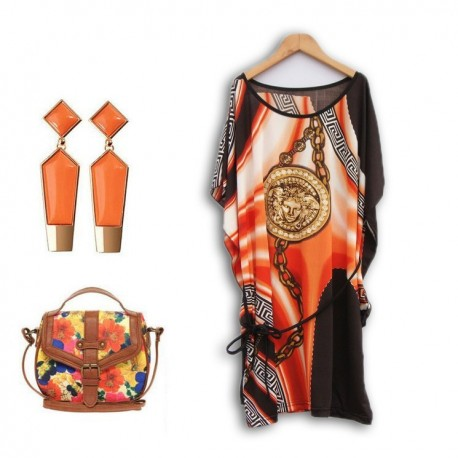 Eva Print Dress Svart-Orange
